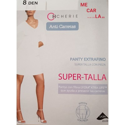 PANTY ANTI CARRERAS SUPER TALLA CON PUNTERA TRANSPARENTE Y PIEZA TRASERA 8 DEN. 5812 CHERIE