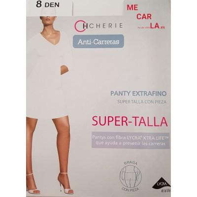 PANTY ANTICARRERAS SUPER TALLA CON PUNTERA TRANSPARENTE Y PIEZA TRASERA 8 DEN. 5812 CHERIE