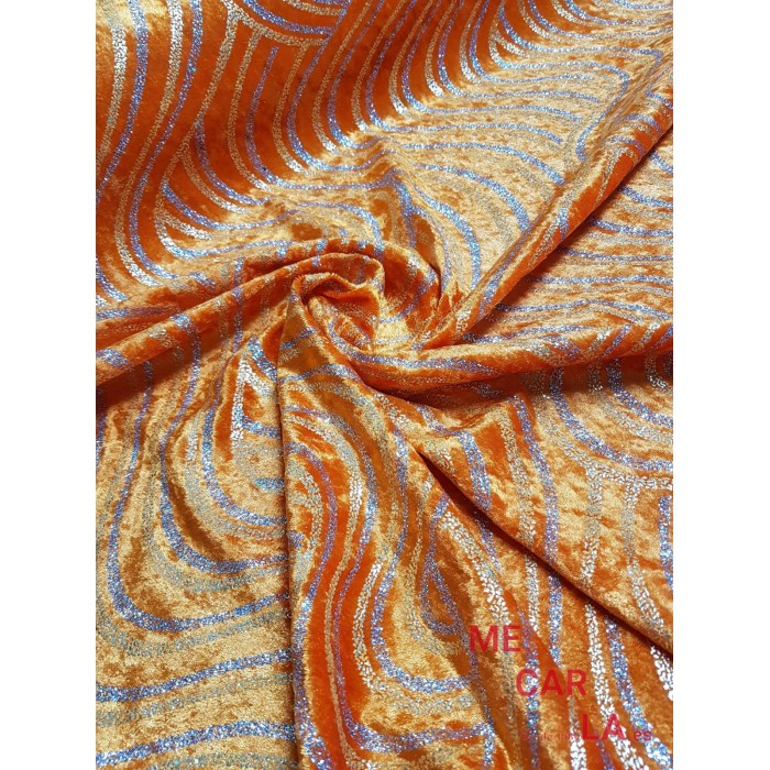 Terciopelo Naranja Estampado Lurex 150 cm