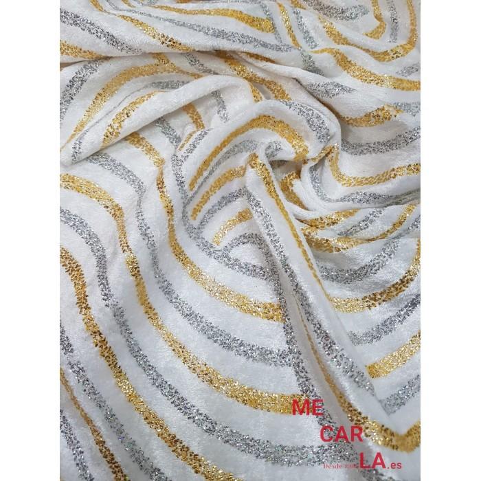 Terciopelo Blanco Estampado Lurex 150 cm