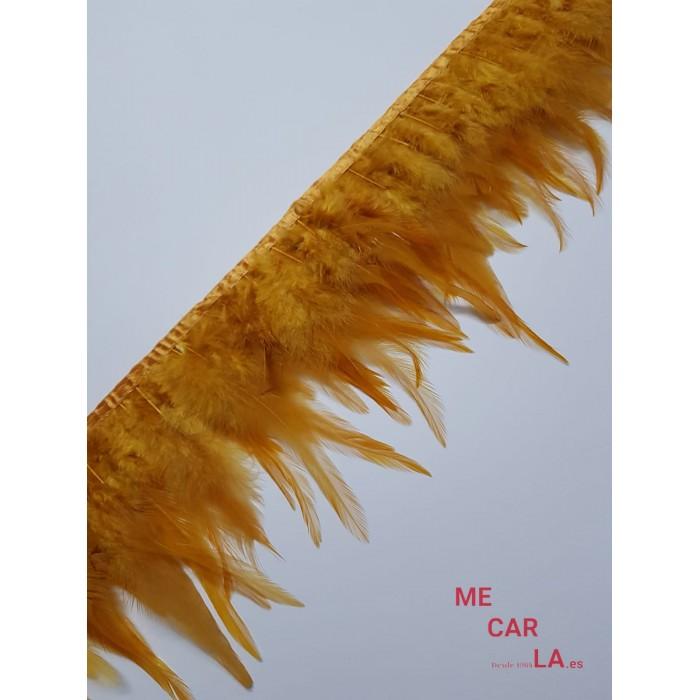 Fleco de Pluma Natural Cobre y Naranja