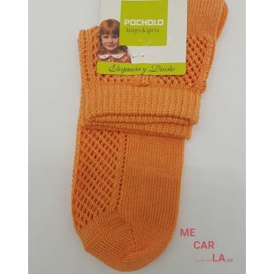 Calcetín Perlé Calado Infantil Pocholo Naranja