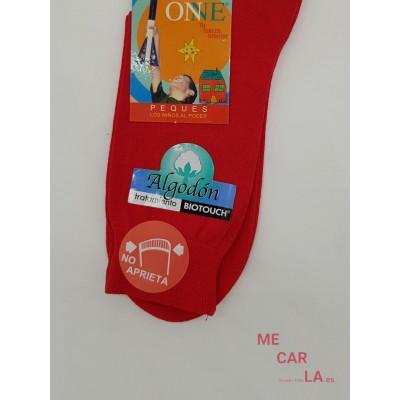Calcetín de Hilo Liso Infantil Onne Rojo