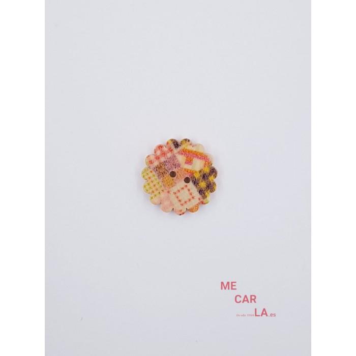 Botón de Madera Modelo Flor