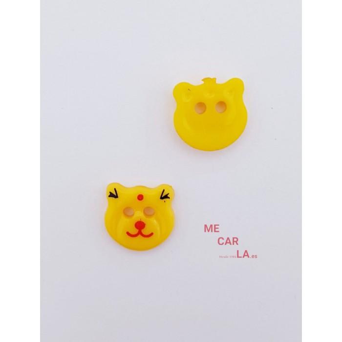 Botón Infantil Fantasía Gato Amarillo