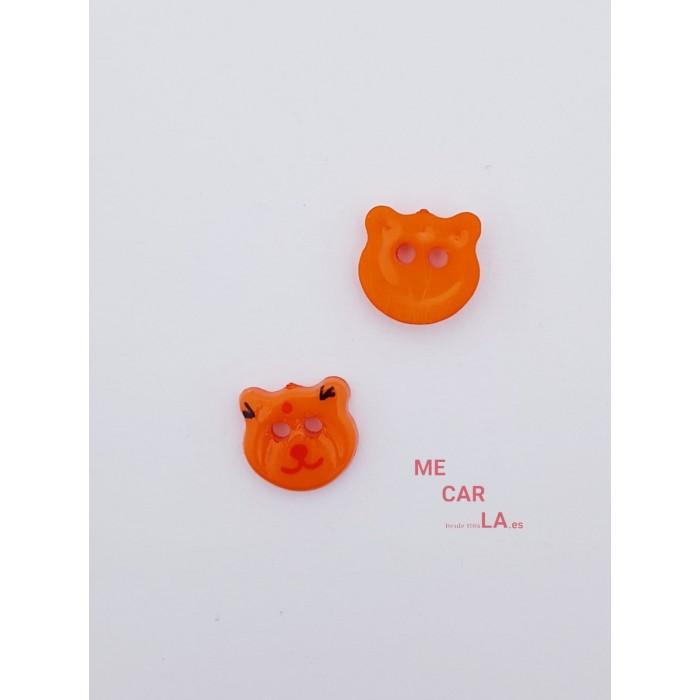 Botón Infantil Fantasía Gato Naranja