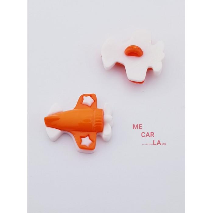 Botón Infantil Fantasía Avión Naranja