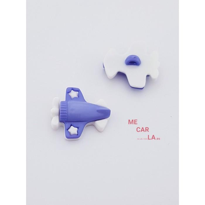 Botón Infantil Fantasía Avión Malva