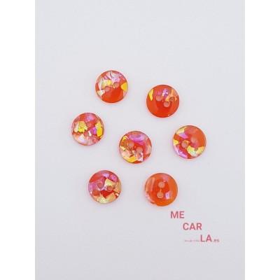 Botón naranja con fantasía multicolor