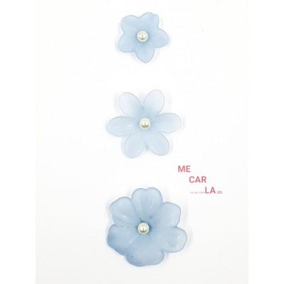Botón fantasía flor con perla Azul