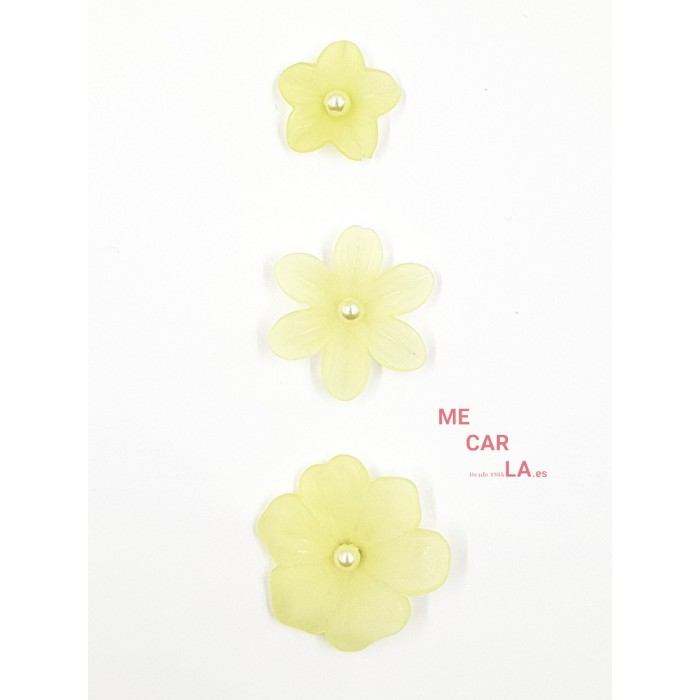 Botón fantasía flor con perla Amarillo