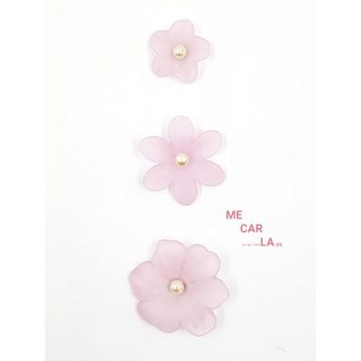 Botón fantasía flor con perla Rosa