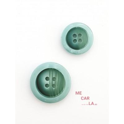 Botón fantasía rayado verde aguamarina