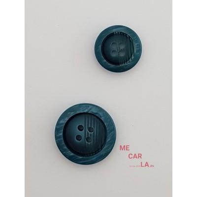 Botón fantasía rayado azul aguamarina oscuro