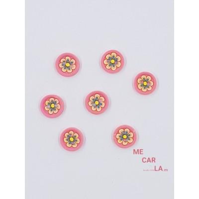 Botón rosa fantasía flor multicolor