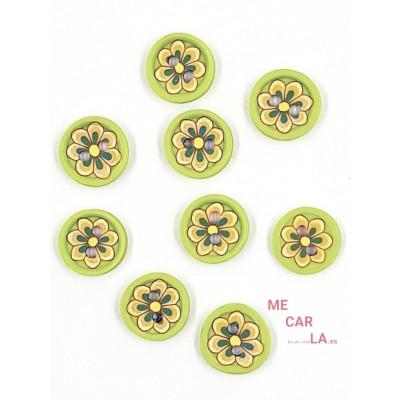 Botón verde pistacho fantasía flor multicolor