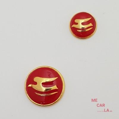 Botón de metal fantasía gaviota dorado y rojo