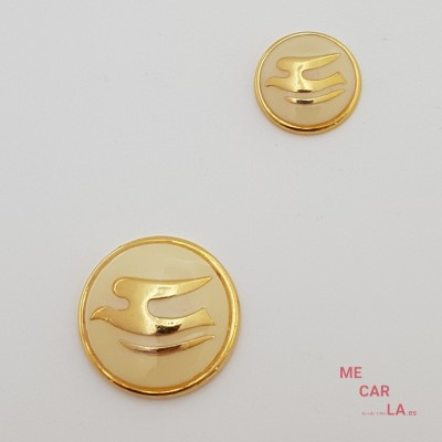 Botón de metal fantasía gaviota dorado y amarillo