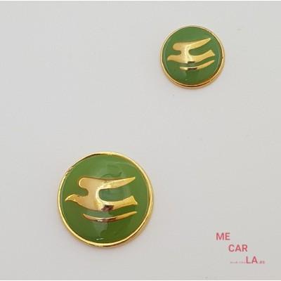 Botón de metal fantasía gaviota dorado y verde