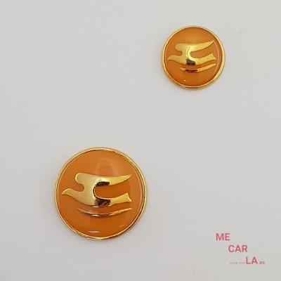 Botón de metal fantasía gaviota dorado y naranja