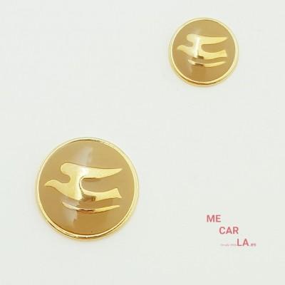 Botón de metal fantasía gaviota dorado y tostado