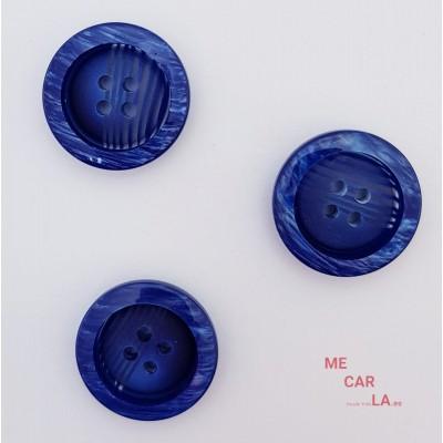 Botón fantasía rayado azul klein