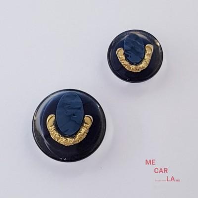 Botón Fantasía azul marino con metal dorado