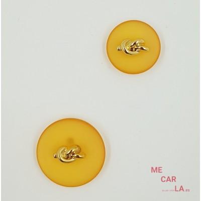 Botón Fantasía Naranja con Nudo Dorado