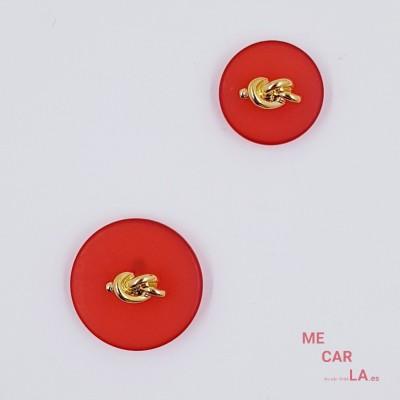 Botón Fantasía Rojo con Nudo Dorado