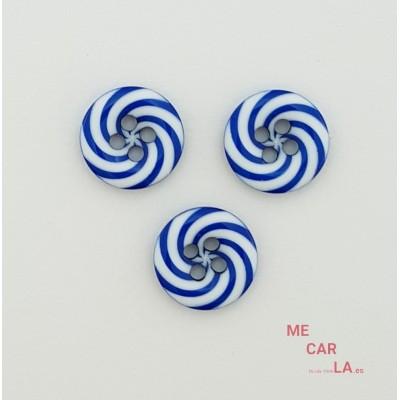 Botón fantasía espiral azul klein