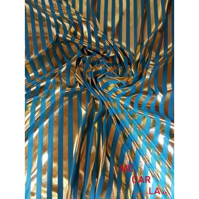 Punto elástico rayado turquesa y dorado 115 cm