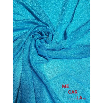 Tela de lamé 150 cm Azul Turquesa
