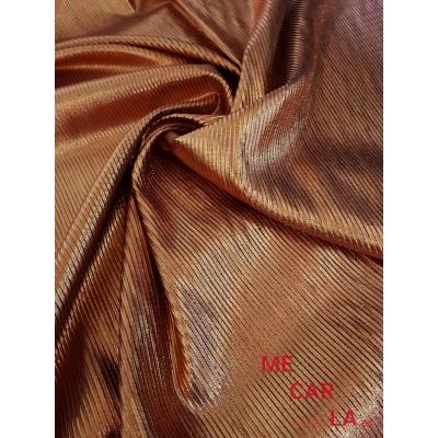 Tela de lamé rayado 150 cm Cobre