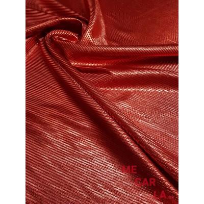 Tela de lamé rayado 150 cm Rojo