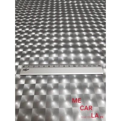 Tela de lamé plata estampado cuadros 150 cm