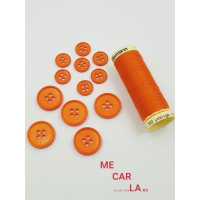 Botón clásico naranja de 4 agujeros
