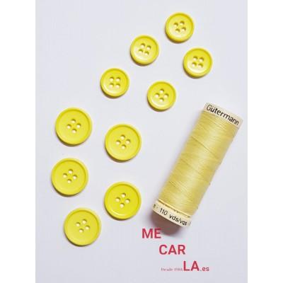 Botón amarillo clásico de 4 agujeros