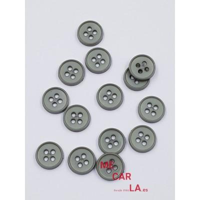 Botón clásico gris medio de 4 agujeros