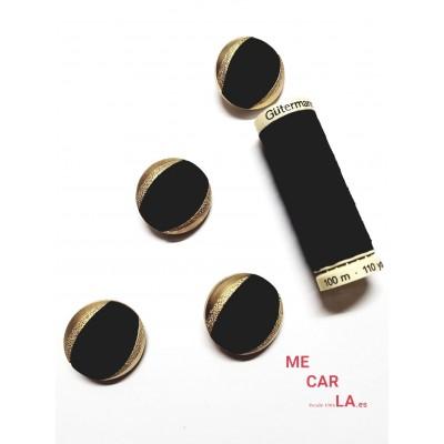 Botón fantasía media bola negro y dorado