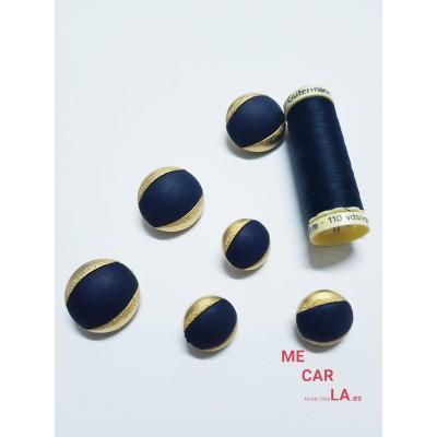 Botón fantasía media bola azul plomo y dorado