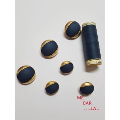 Botón fantasía media bola azul marino y dorado
