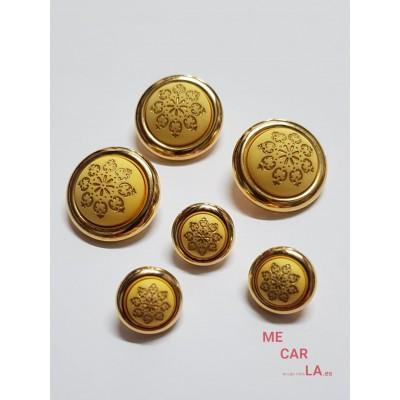 Botón fantasía media bola amarillo y oro