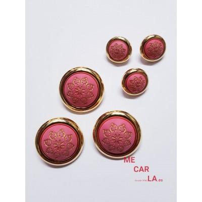 Botón fantasía media bola rosa y oro