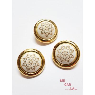 Botón fantasía media bola blanco y oro