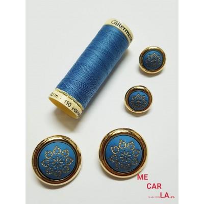 Botón fantasía media bola azul turquesa y oro