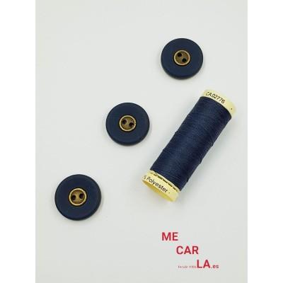 Botón azul marino mate centro metal