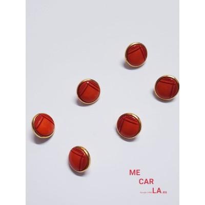 Botón fantasía rojo con borde dorado