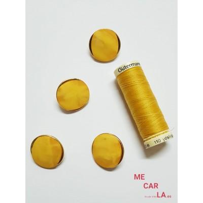 Botón amarillo oro fantasía aguas en mate