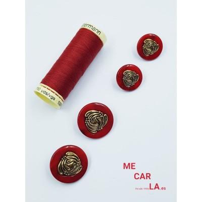 Botón fantasía rojo escarlata y dorado