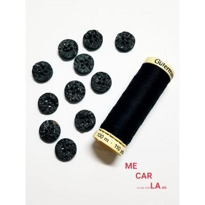 Botón fantasía tipo piedra Negro